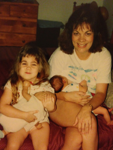 With my Mom, practicing how to breastfeed at age 4!