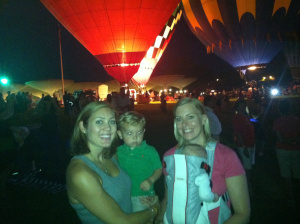 Lindsay and I with Katie and Michael watching the hot air balloons.