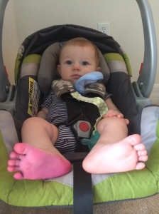 And the day he came home with a purple foot :)  It wasn't contagious!