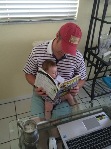 Helping Daddy pick his fantasy football team!
