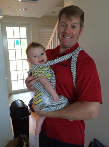 Doug's attempt at babywearing...