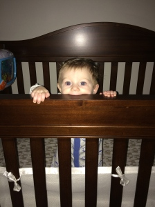 Donovan likes to eat his crib...
