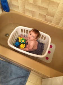 We moved him into the bath tub!