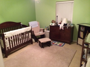 Two tone green in Donovan's room!