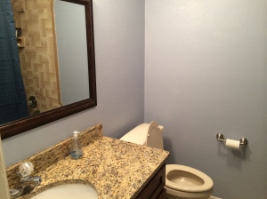 Finished Guest Bathroom..it is the same colors as our bathroom but the light makes it look different!