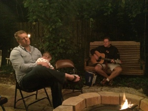 Uncle Pat and Doug singing by the fire pit!